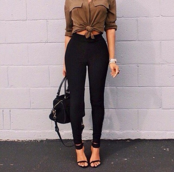 T-shirt: blouse tan high waisted jeans heels bag top shirt