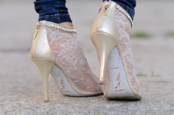 White Lace Heels - Kli Lace Heels Low Boots White
