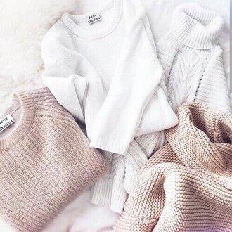 sweater acne studios pull pullover cardigan white nude