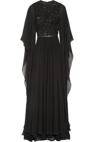 gown chiffon embellished silk black dress