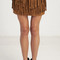 Double layer fringe suede mini skirt - camel