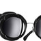 Black & dark silver round runway chanel sunglasses with black mirror lenses