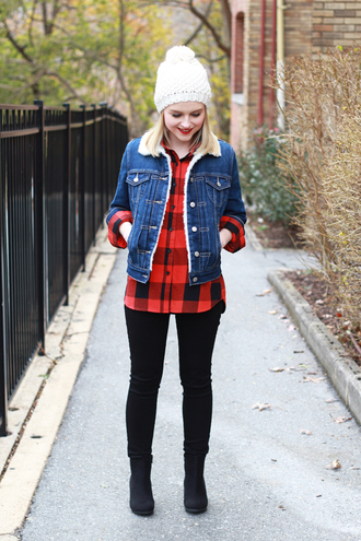 poor little it girl blogger pom pom beanie flannel shirt