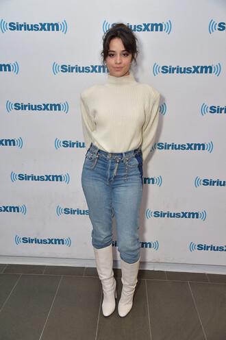 sweater jeans denim boots camila cabello