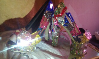 shoes high heels mirror bling shoes crystal custom made swag sexy shoes multicolor black  high heels swarovski