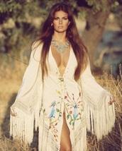 dress,tassel,fringes,festival,blue,pink,v neck,bohemian,embroidered,maxi dress,white,70s style