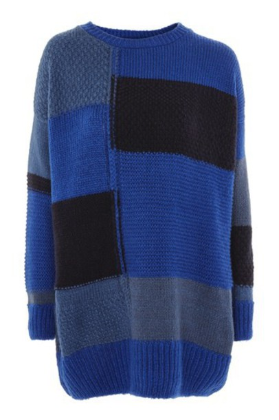 Topshop sweater oversized sweater oversized patchwork blue