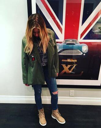 jacket boots jeans ashley benson instagram shoes coat