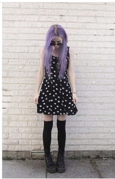 hipster yin yang grunge goth soft grunge pastel goth emo punk rebel edgy docs yin yang dress hip fab high knee socks platform shoes