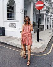 bag,stripes,mini dress,striped dress,flat sandals,sunglasses