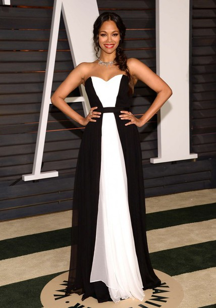 Dress gown prom dress zoe saldana oscars 2015 black and white dress red carpet dress - Black and white red carpet dresses ...