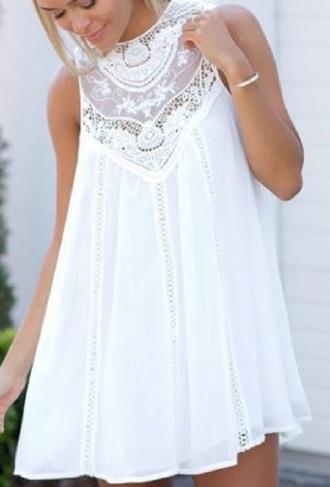 dress white dress crochet embroidered embroidery short dress boho dress