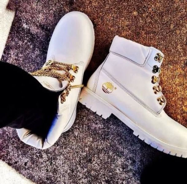 Shoes: timberlands, blanc, chaussures, white, gold, shirt ...