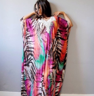 dress maxi dress maxi skirt summer summer dress summer outfits cover up wedding dress oriantal oriental print oriental caftans caftan dress kaftan dress kaftan zebra zebra print zebra dress colorful dress pink beach beach dress caftan