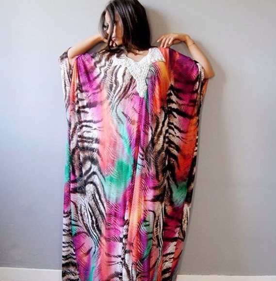 dress kaftan pink kaftan dress beach summer outfits cover up maxi dress maxi skirt summer dress wedding dress oriantal oriental print oriental caftans caftan dress zebra print zebra dress colorful dress beach wedding dress beach dress