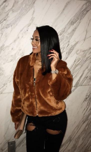 coat brown brown faux fur brown coat