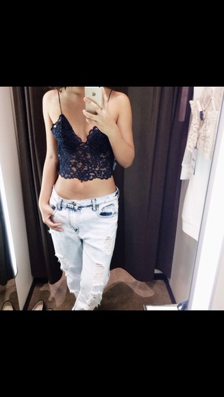 blue bright summer lace black underwear jeans dark hot