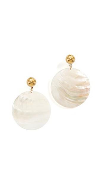 Kenneth Jay Lane shell earrings white jewels