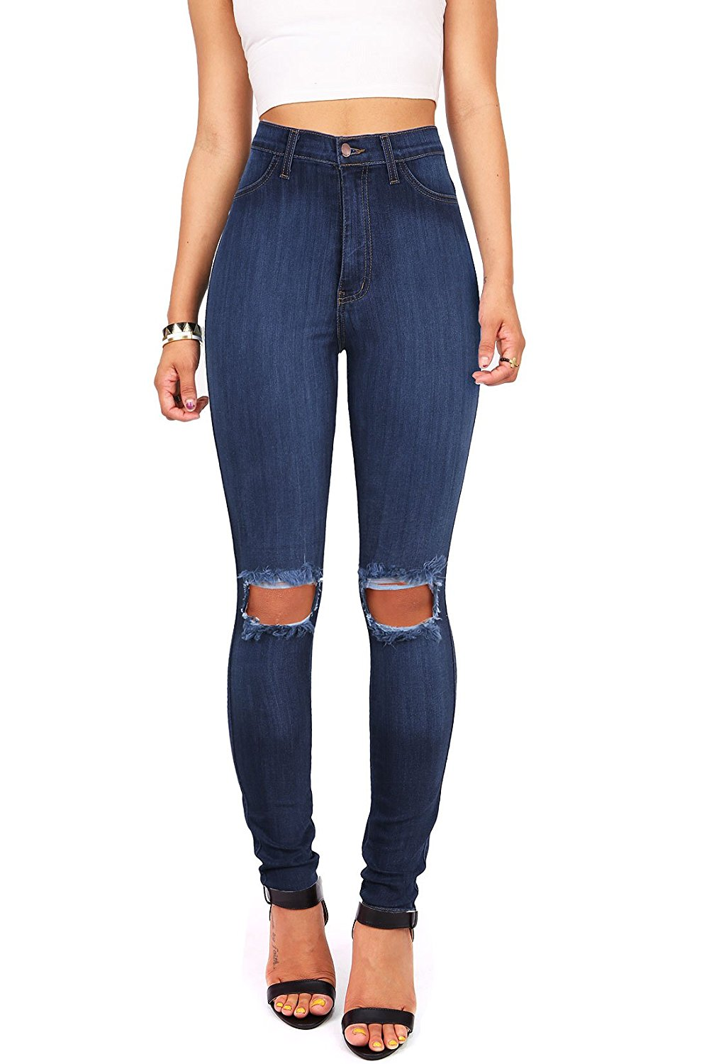 f6d1256ad62c2c Vibrant Women's Juniors Faded Ripped Knee High Waist Skinny Jeans at Amazon  Women's Jeans store