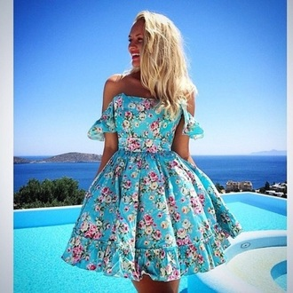 dress blue floral mini