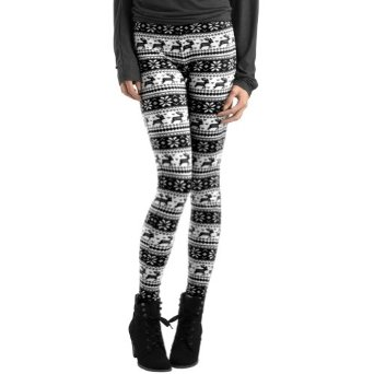 Amazon.com: Women Reindeer Deer Snow Snowflake Footless Legging Tight Pant Black White: Leggings For Juniors: Clothing