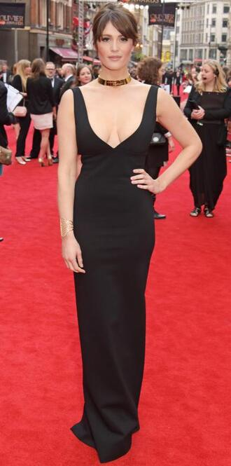 dress gown prom dress red carpet dress gemma arterton plunge v neck