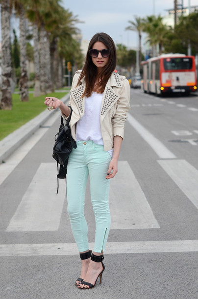 fashion vibe jacket pants t-shirt shoes bag mint