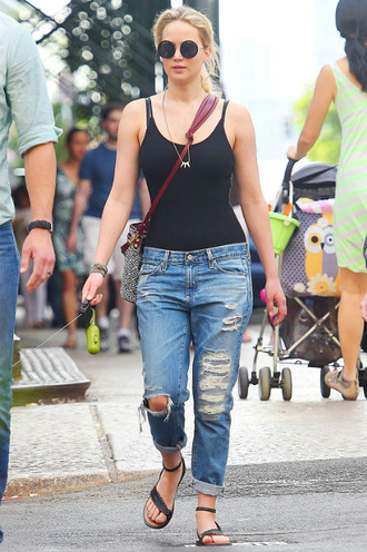 jeans top denim ripped jeans sandals jennifer lawrence shoes sunglasses