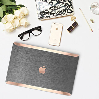 home accessory cliqueshops apple unisex gift ideas mothers day gift idea laptop bag computer accessory computer case gold grey technology iphone