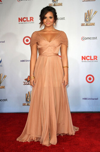 dress beige dress demi lovato floor length maxi dress ball gown dress nude silk wrap dress prom dress celebrity style