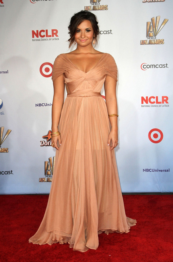 dress beige dress demi lovato floor length maxi dress ball gown dress nude silk wrap dress prom dress celebrity style