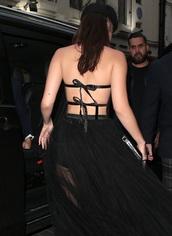 top,bella hadid back bow tied  top