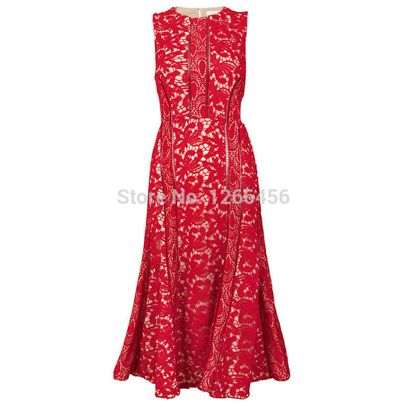 Aliexpress.com : Buy Free Shipping Red color sleeveless Sexy round Neck Dress See Through Mid Calf Lace Mesh Dress Cocktail Dress MX127 from Reliable dress taffeta suppliers on Lady Go Fashion Shop