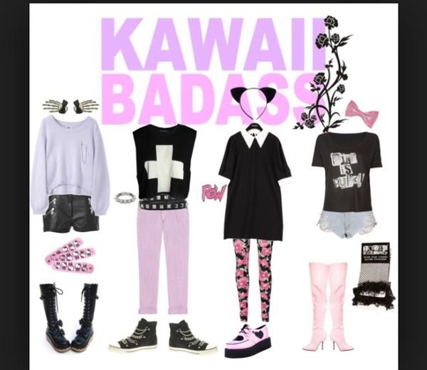 shirt punk black pastel cute shoes t-shirt blouse earphones tights