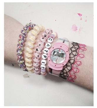 jewels bracelets floral stars yellow pastel pastel goth pastel pink tattoo tattoo coker watch