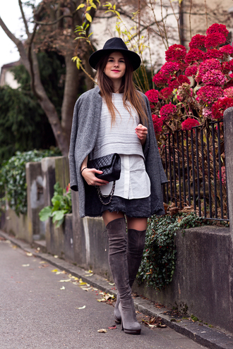 the fashion fraction blogger skirt thigh high boots cropped sweater fedora winter outfits grey coat coat top shoes hat jewels bag