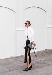 modern legacy,blogger,sunglasses,white shirt,slit skirt,black skirt,oxfords,shirt,skirt,shoes,bag,jewels