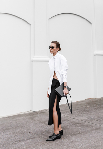 modern legacy blogger sunglasses white shirt slit skirt black skirt oxfords shirt skirt shoes bag jewels