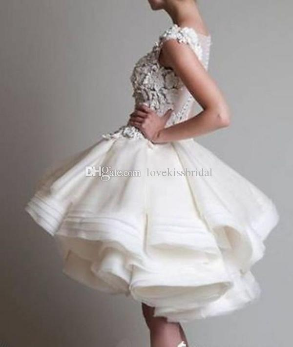 Discount fashion short ball gown wedding dresses scoop sheer online with $132.99/piece