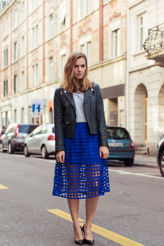 fashion gamble blogger jacket jewels blue skirt see through leather jacket