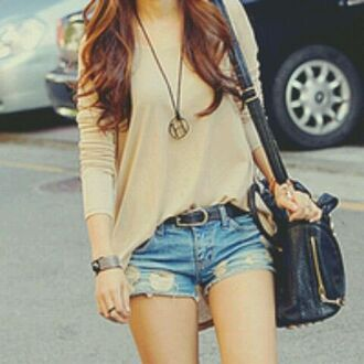 beige shirt leather black belt brown jewels shirt shorts belt