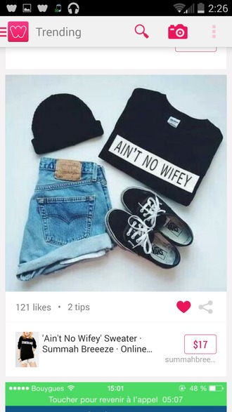 t-shirt shoes high waisted shorts aint no wifey tee hat cute shorts cute shirt shorts