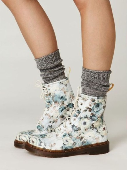 floral shoes blue grey white boots DrMartens