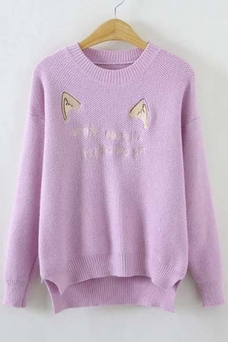 sweater fashion style trendy warm cats kawaii cozy fall outfits lilac long sleeves purple winter outfits fall sweater winter sweater beautifulhalo