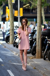 vogue haus,blogger,dress,shoes,bag,sunglasses,jewels,pink dress,off the shoulder,white bag,mini dress,round sunglasses,dior sunglasses,dior so real,bardot dress,short dress,summer dress,summer outfits,shoulder bag,chanel bag,chanel boy,pink sandals,sandals,sandal heels,high heel sandals,date outfit,date dress
