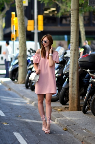 vogue haus blogger dress shoes bag sunglasses jewels pink dress off the shoulder white bag mini dress round sunglasses dior sunglasses