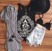 cardigan,grey cardigan,gray cardigan,cute cardigan,knitted cardigan,tank top,top,cut off shorts,acid wash,light washed denim,sunglasses,necklace,bralette,bralette tops,bralette set,bralette lace black bra,bralette black,fedora,hat,hipster,edgy,cute,indie,cool,girl,indie shorts,denim,summer,vintage,clothes,graphic tank top,graphic shirt,graphic tee,quote on it,graphic top,shorts,on point clothing,gorgeous,women,urban,urban chic outlet,stylish,style,trendy,outfit idea,fashion inspo,tumblr outfit,tumblr shirt,tumblr shorts,tumblr clothes,tumblr,beautiful,date outfit,pretty,blogger,fashionista,chill,rad,shirt
