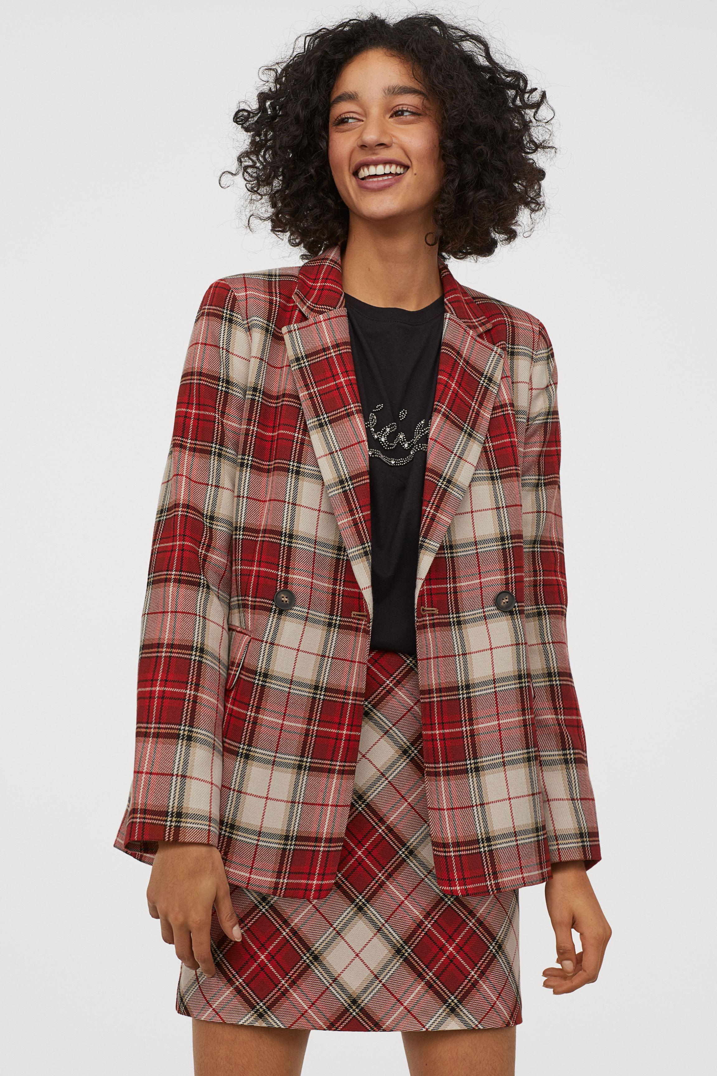 A-line Skirt - Black/red plaid - Ladies | H&M US