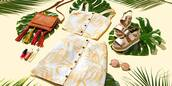 shoes,steve madden,two-piece,summer,summer outfits,yellow,yellow top,button up skirt,platform sandals,flatform sandals,aviator sunglasses,macys,steve madden sandals,crossbody bag,button up,bag,sunglasses,rayban,skirt,top
