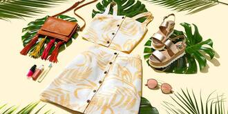 shoes steve madden two-piece summer summer outfits yellow yellow top button up skirt platform sandals flatform sandals aviator sunglasses macys steve madden sandals crossbody bag button up bag sunglasses rayban skirt top